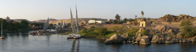 Felucca moored at one of the many Islands in the Cataracts to the north of the High Dam in Aswan