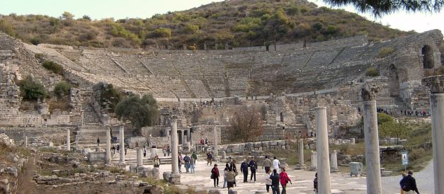 When one wonders aroundthe ruins of Ephesus it is hard to sometimes recall that during its bustling life it was a port town