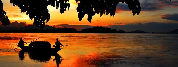Sunset over the Brahmaputra River near Assam in India