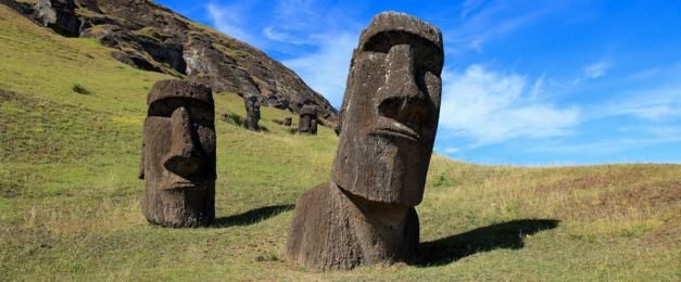 Two of the colossal statues at Easter Island