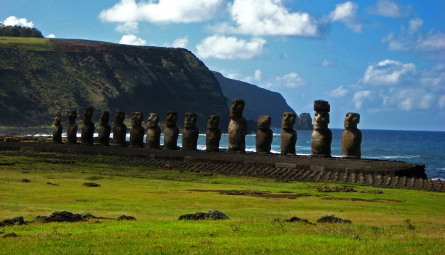 Just some of the colossal statues at Easter Island