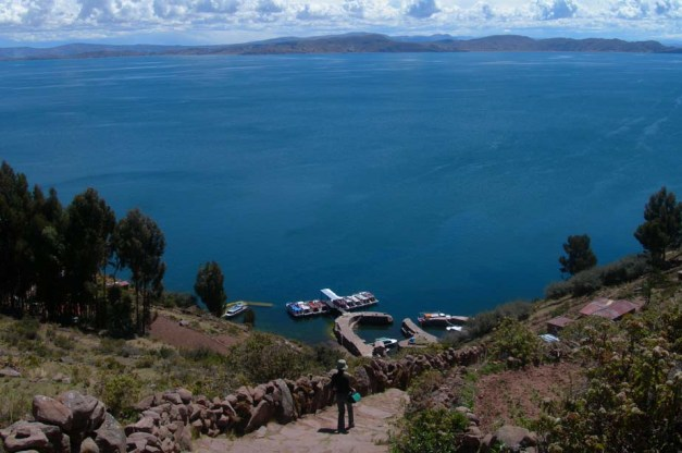Lake Titicaca, nestled high in the Andes