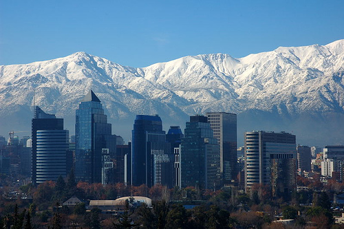 The City of Santiago lays nestled up against the Andes