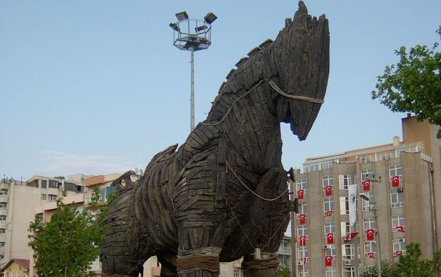 "The Trojan Horse used in the movie ""Troy"" stands proudly in Cannakale"