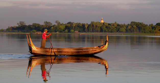 Fisherman out on Tautaman Lake at Mandalay