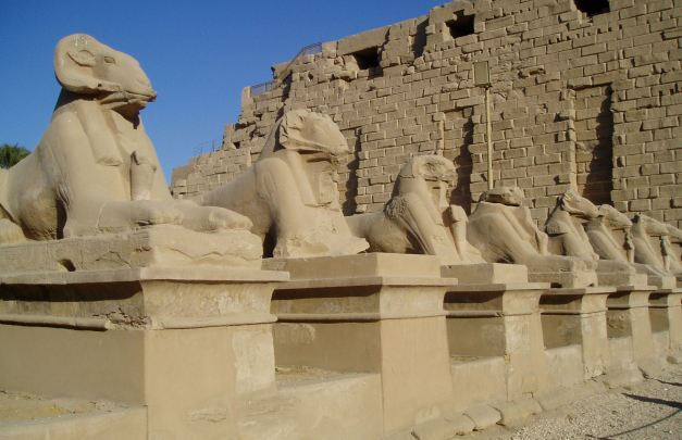 Statues by the entrance of the Temple Of Karnak
