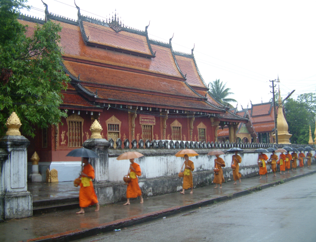 "Monks begging for ""Alms"" in Luang Prabang"
