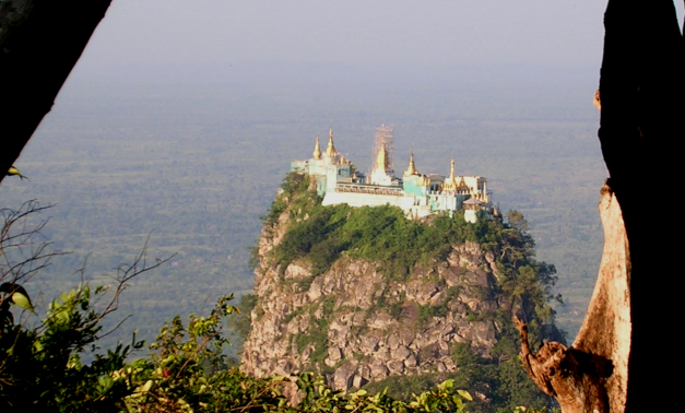 Mount Popa sits perched atop its plateau