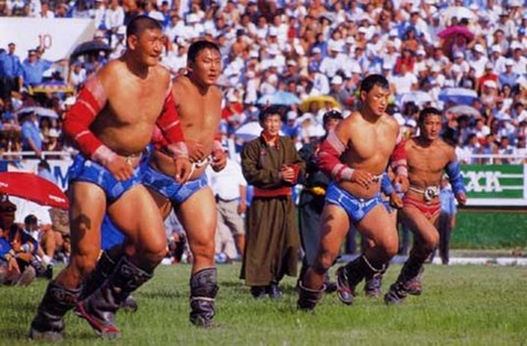 Wrestling is one of the many sports performed during Nadaam