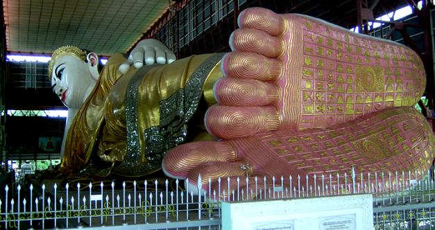 The massive Reclining Buddha is another one of Yangon's sights
