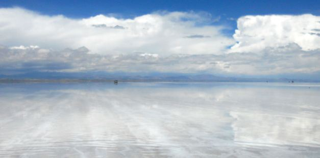 The Uyuni Salt Flats can be almost totally reflective at times