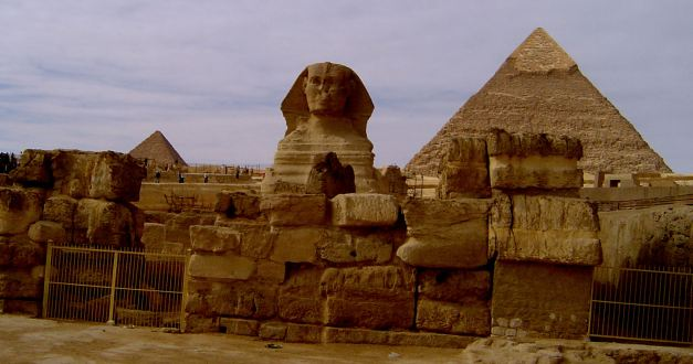 The Sphinx and Great Pyramid at Giza