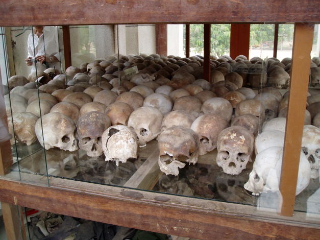 One of the chilling displays at the Killing Fields