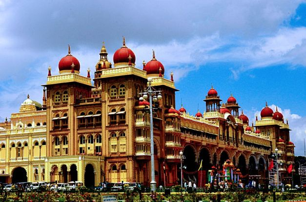 The Mysore Palace, built in a mix of Indo-Saracenic styles